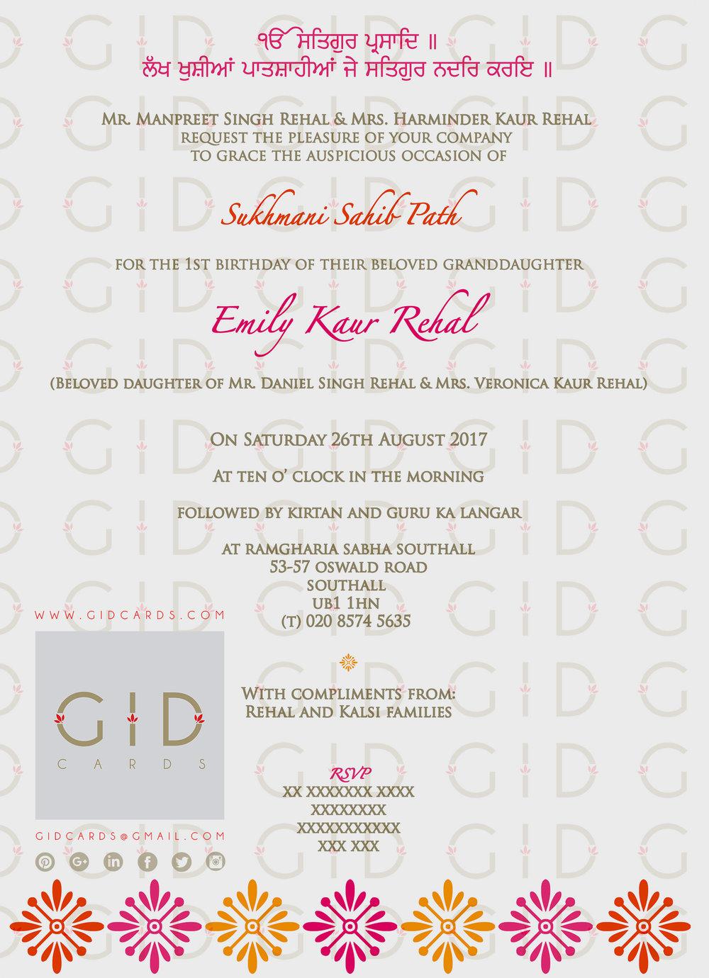 Sukhmani Sahib Path Invitation For Birthday - Best Custom Invitation Template | PS Carrillo