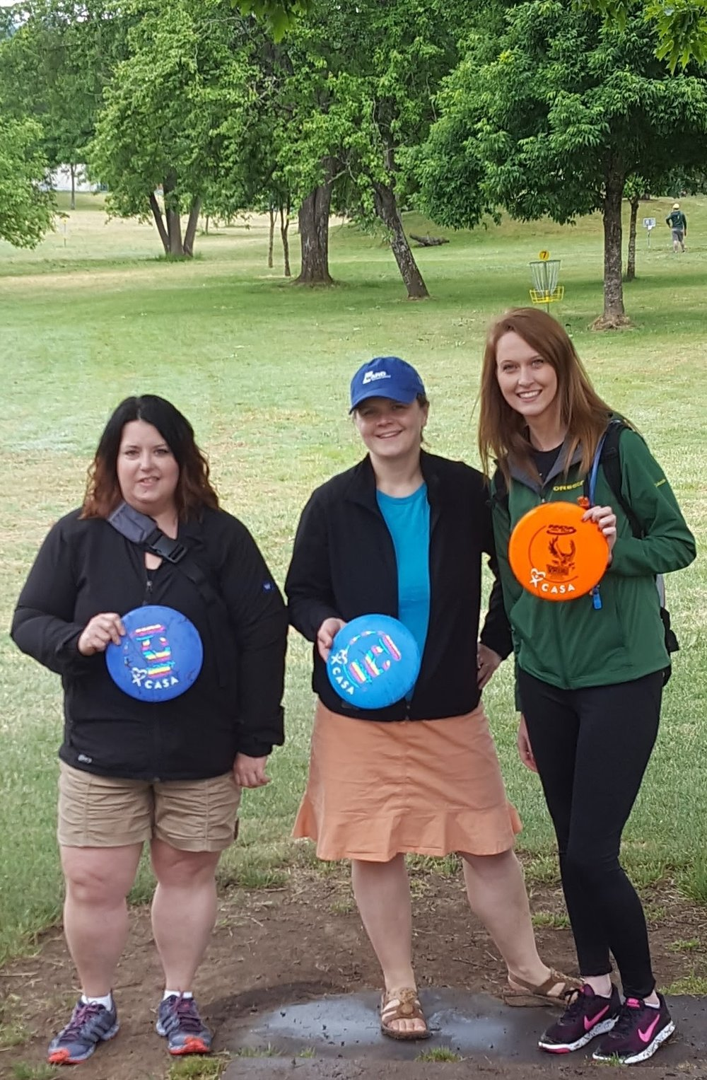 Disc Golf with Casa - Ward Insurance was proud to sponsor the 2017 Disc Golf Tournament put on by CASA. Over 90 participants played 9 or 18 holes at the Westmoreland course in Eugene. Disc Golfers  competed at two holes for closest to the pin and hole in one winner. As always in Eugene, rain tried to scare off participants but cleared up right as the horn blew to signal the shotgun start of the tournament.