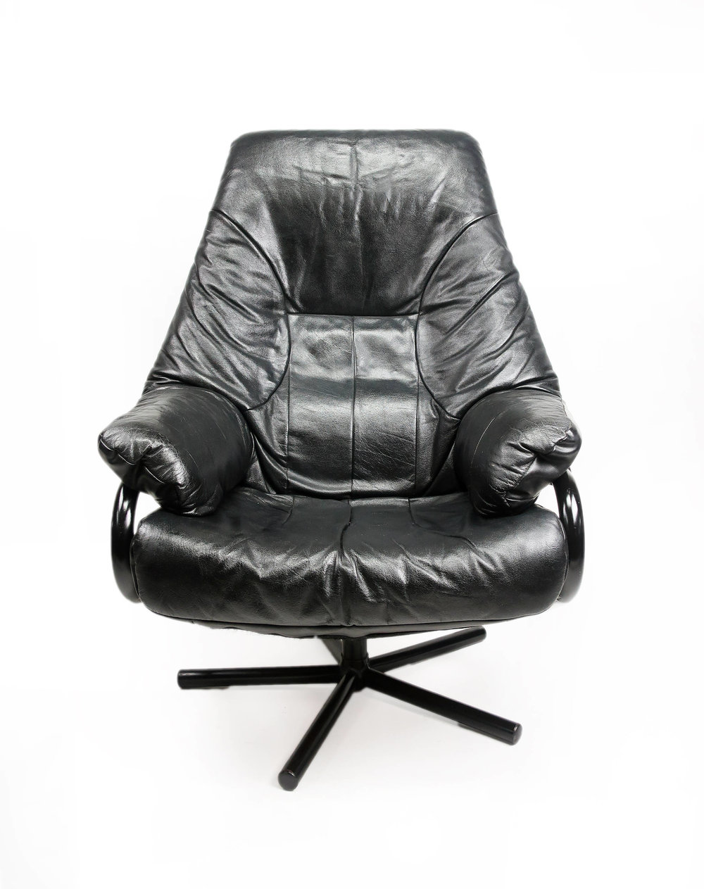 Mid Century Modern Black Leather Reclining Chair