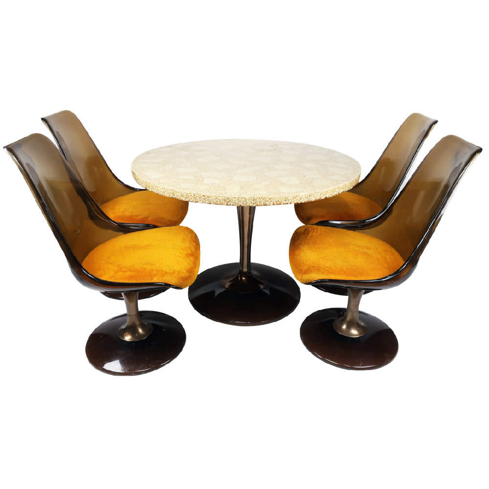Chromcraft Amber Lucite Tulip Chairs Table Set Tenon Design - Tulip chair and table set