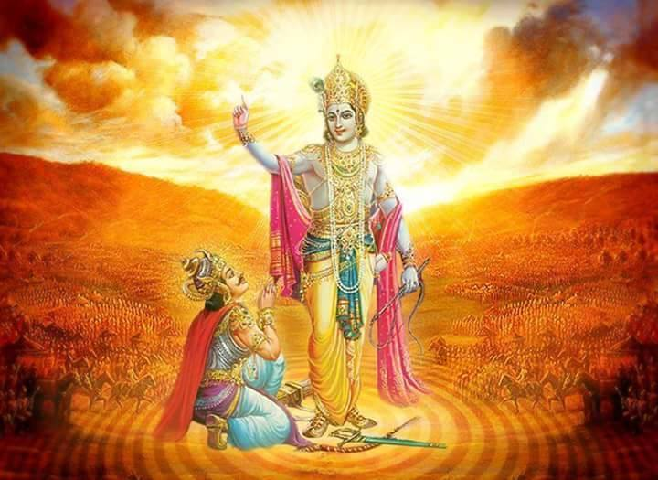 Arjuna at Krishna's feet, illustration from the Bhagavad Gita.