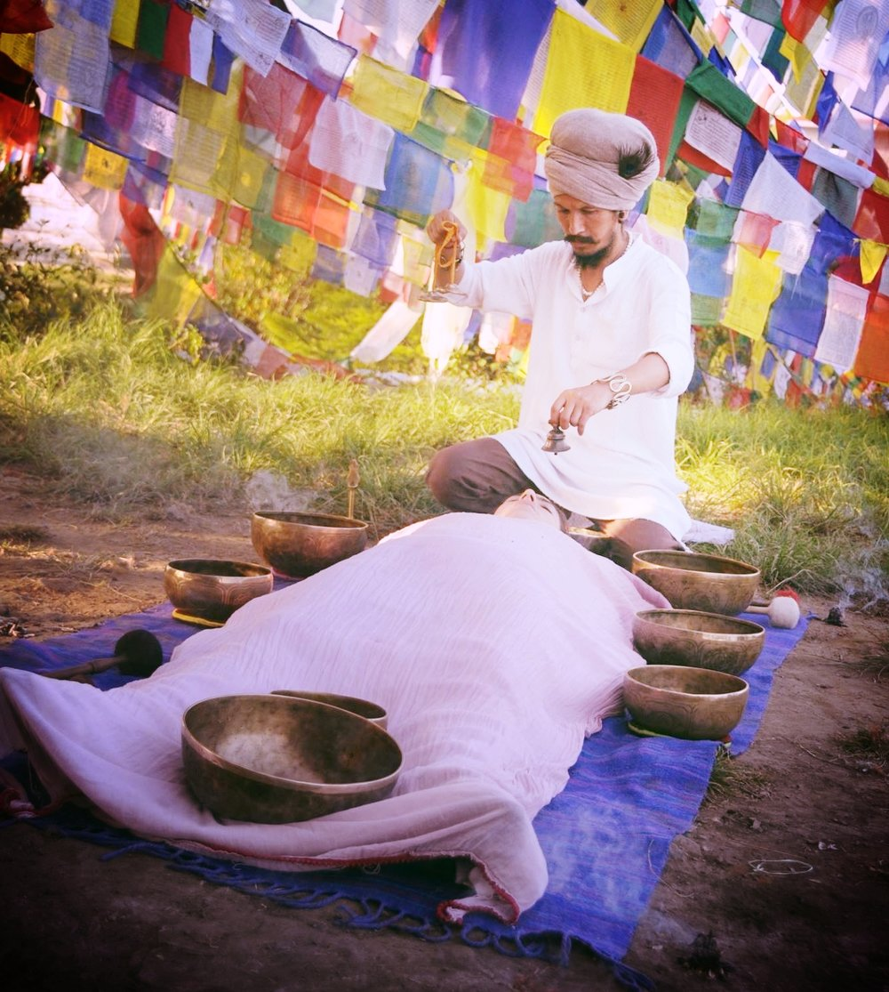 Chaitanyashree in a sound healing session.