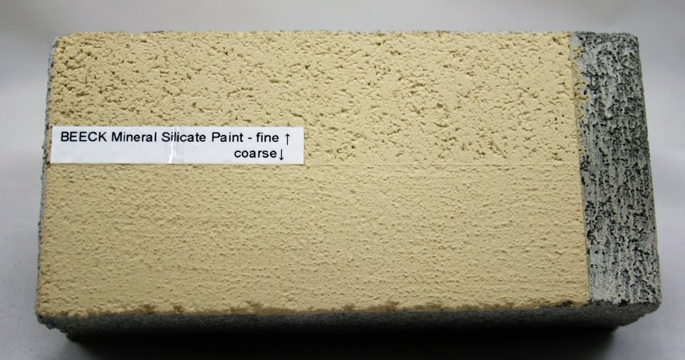 BEECK Coarse paint has a supreme filling capacity with the ability to visually equalize uneven surfaces.