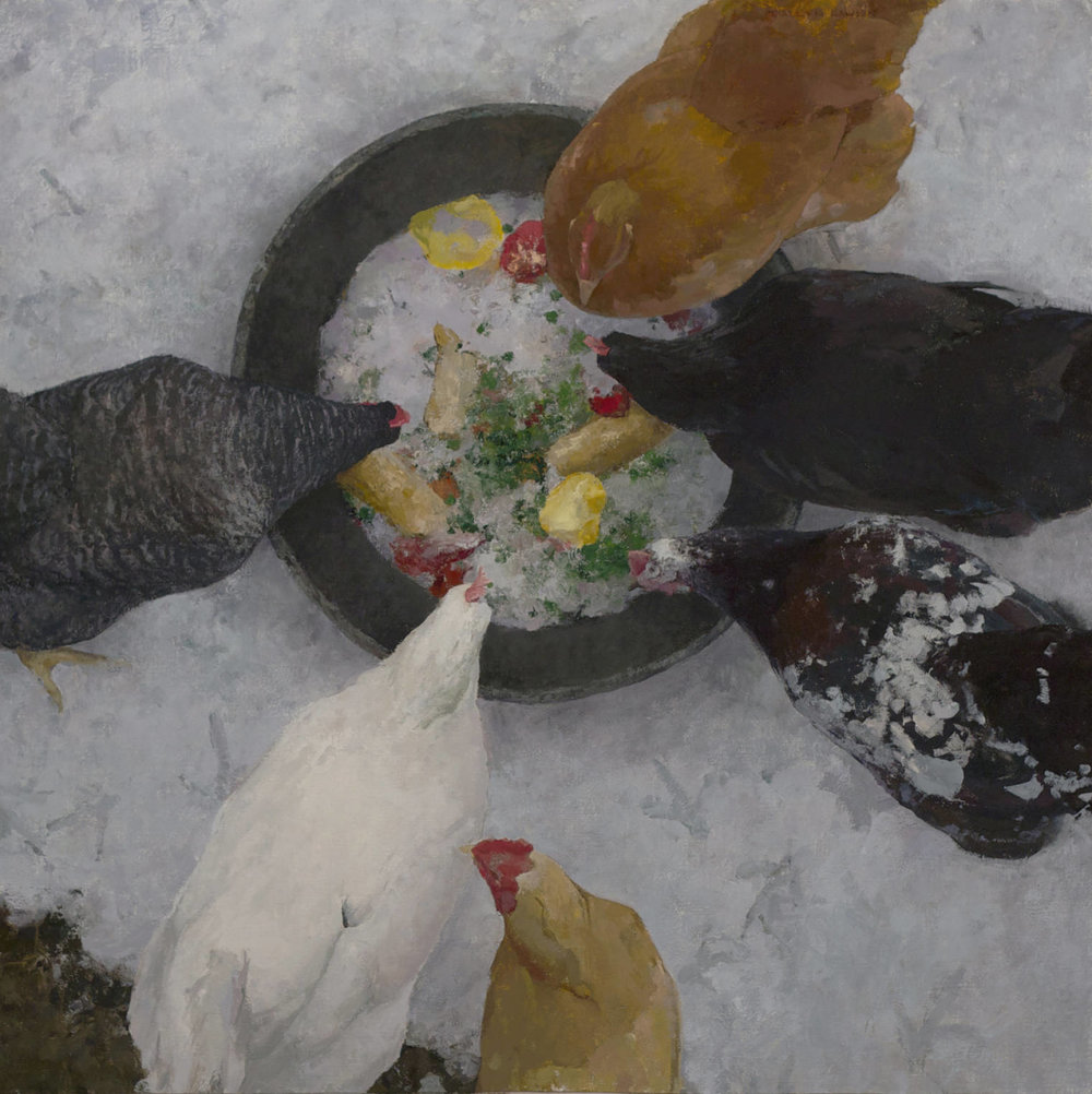 """Christmas Dinner"" oil on linen, 30 x 30 in., 2014"