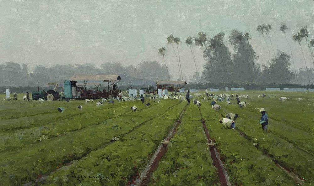 """Strawberry Pickers"" oil on linen, 12 x 20 in., 2002"