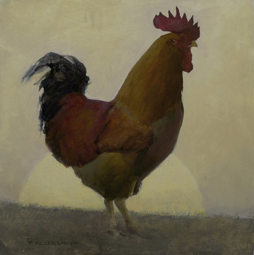 Crowing for Mr. Kurland, oil on linen, 14 x 14 in.