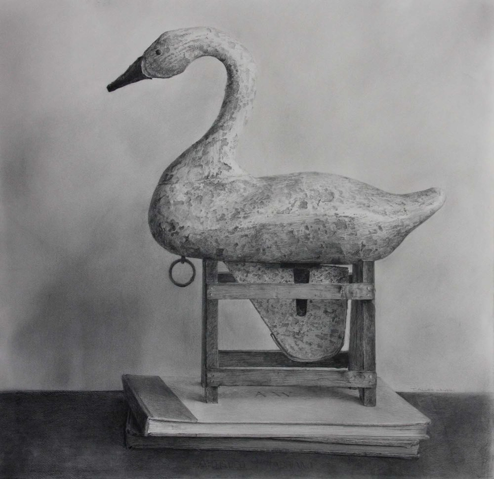 Retired, graphite on paper, 28 x 28.5 in.