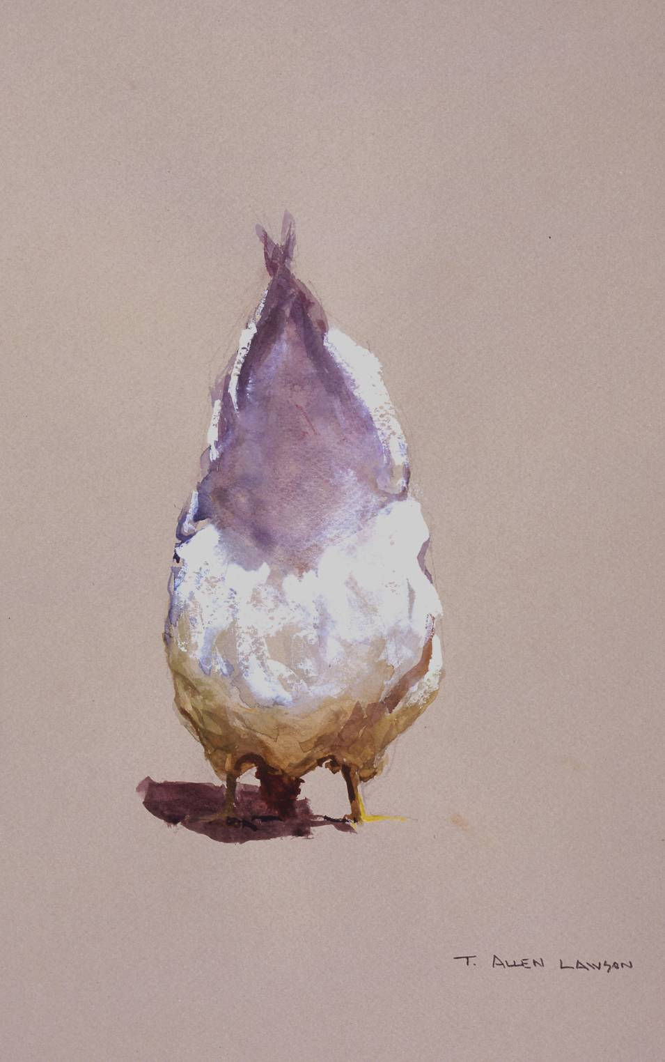 Chicken III, mixed mediums on toned paper, 12 x 9 in