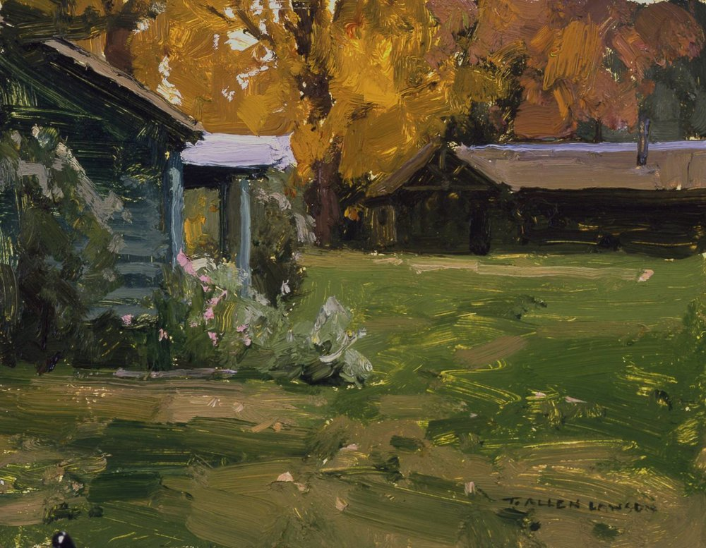 Cabins of Lake Katahdin, oil on board, 7 x 9 in.