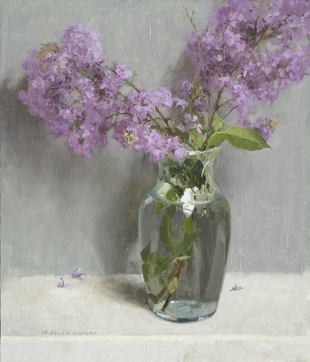 Lilacs, oil on linen over panel, 14 x 12in.