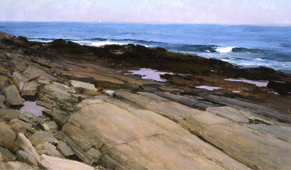 Rocky Shoals of Cape Elizabeth, oil on linen, 18 x 30in. Collection of Jeffrey and Michele Schlesinger
