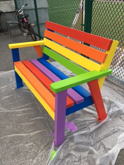 This is the bench painted for the Mission by by youth from the rainbow Umbrella that now provides a cheery welcome to all visitors. A similar one will soon be installed at Verdun City Hall.