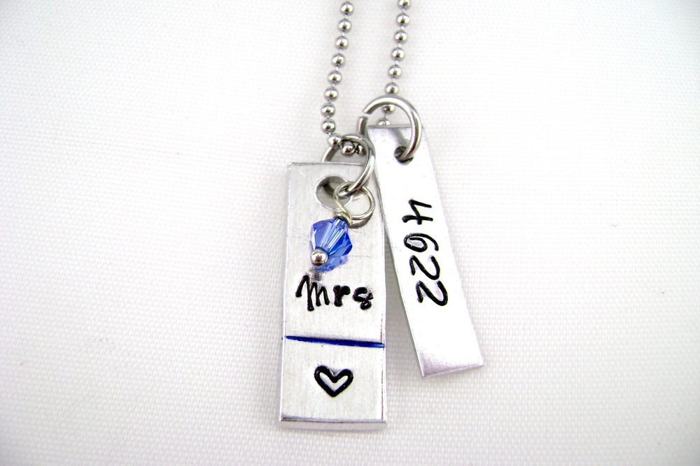 necklace new heart number and police products blue with format stamped wife line badge thin