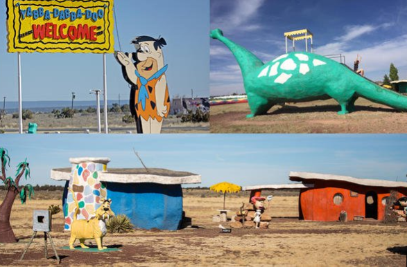 Bedrock City, Junction of 180 and 64, AZ You can make a quick stop to check out this bizarre Flinstones theme park and campsite on your way to the Grand Canyon. Yabba dabba doo!  https://www.topixoffbeat.com/slideshow/19342 Stacie Hougland