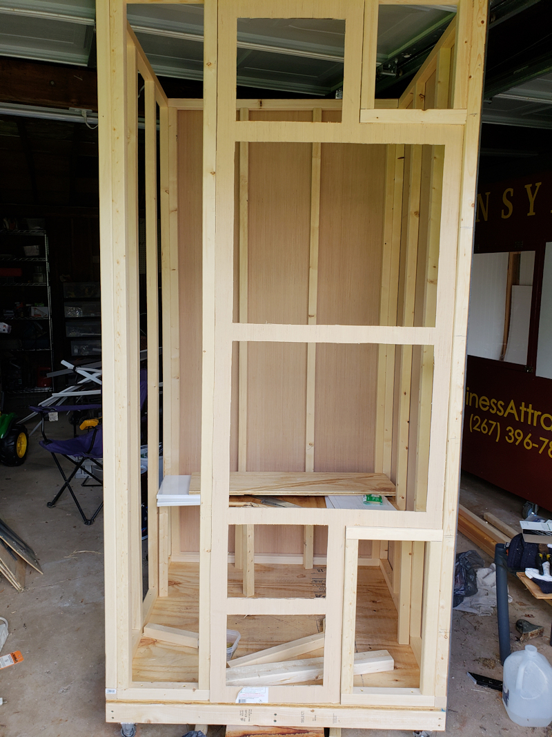Framing for an interactive phone booth for Stacks Co. in Doylestown PA.