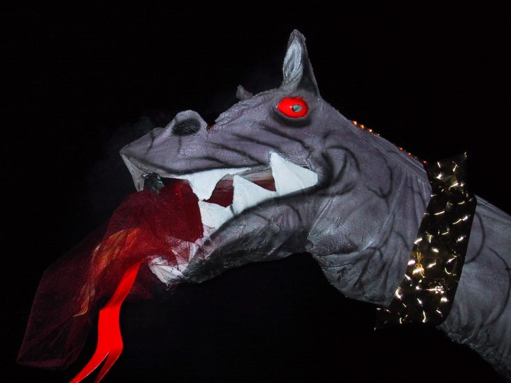 Dragon's head, part of a Halloween extravaganza in Hudson Valley NY.