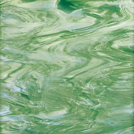 828-72   - Seafoam Green/White Opal A rich mossy, forest green streaked with white wispy random swirls.