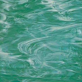 823-72   - Teal Green/White Opal Another cool green in a teal tone whisked with white wispy streamers. Delicious!