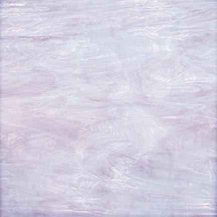 2180  - Lavender/White Wispy A soft blend of light purple and white opal, streaking lighter and darker throughout the sheet. As with so many of the glasses that we use, the true quality of the color and texture must be touched to be appreciated.