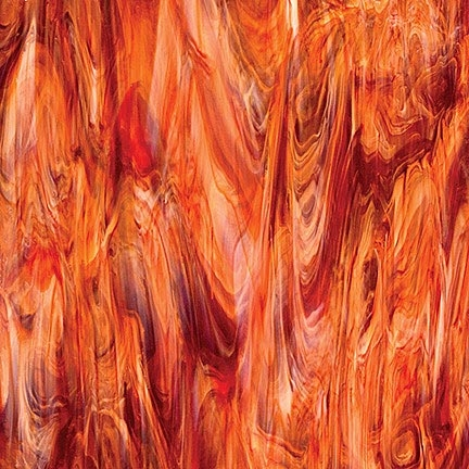 6051-83A - Autumn FlameA regal red color, blended with swirls of white and clear. Stunning in a room of light tones. I have very little of this glass on hand, but it will be back in production within a few months. Call for availability.Almost all gone…call to find out