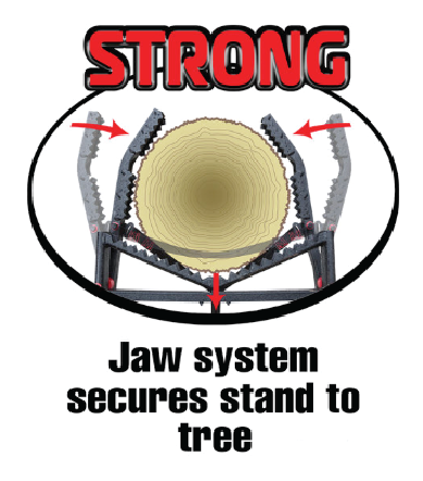 "Introducing the patent-pending Primal Grip Jaw System, the only system to utilize a ratcheting mechanism to engage your treestand gripping jaws. Our patent-pending system uses a 1"" strap and ratchet to engage two locking jaws so your ladder-stand is rock-solid. -"
