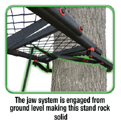 After you have connected your treestand from the ground and your jaws are engaged and clinched, climb your ladder to finish installation with the ratchet provided. -