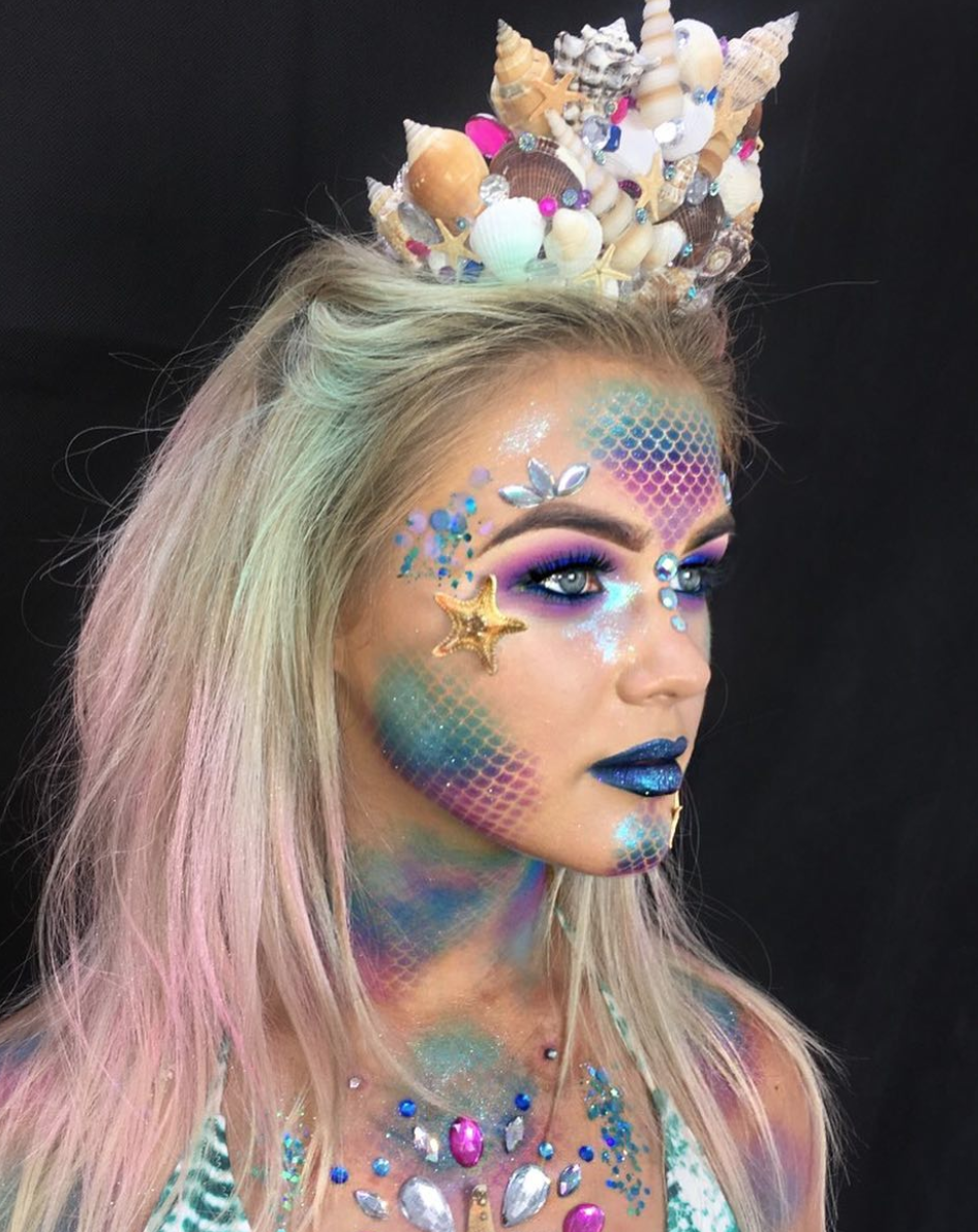 Mermaid - Makeup artist Rachel Bourne has a vibrant take on a mermaid costume. Gather your seashells and stick-on jewels to recreate the look.