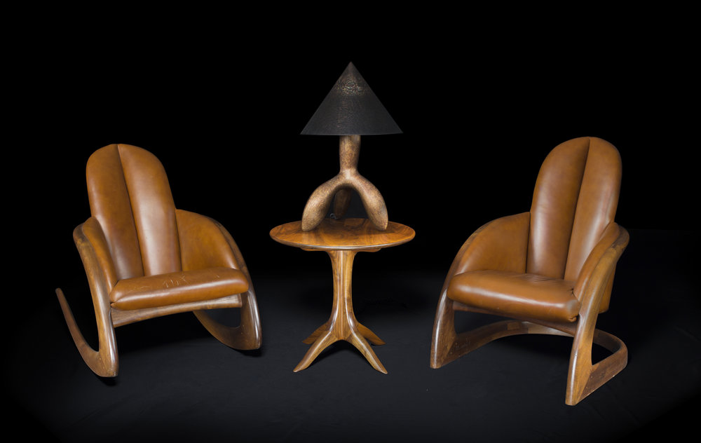 Crescent Rocker ,  Crescent Chair  and  Lamp , 1997