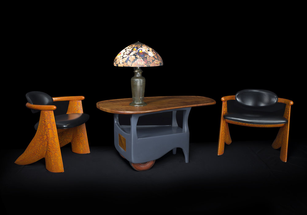 Crackle Chairs , 1997 (with  Rolling Table by  Wharton Esherick)
