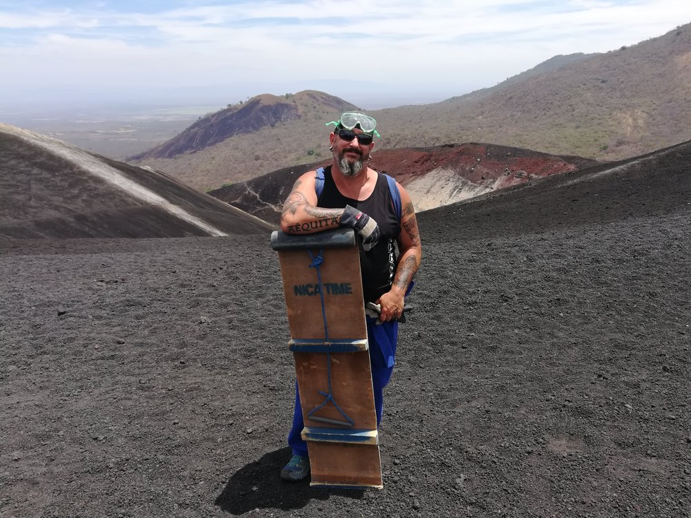 Volcano boarding in Nicaragua.