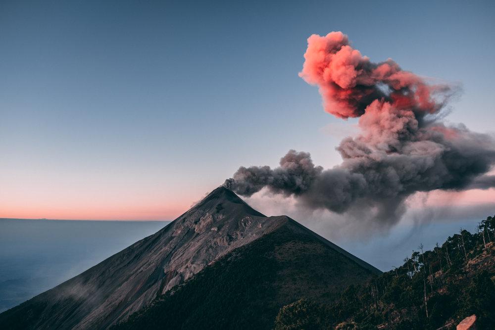 Volcanoes Acatenango and Del Fuego