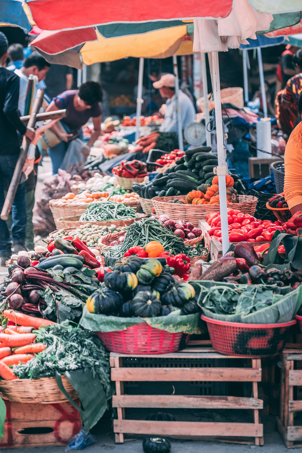 Fresh produce at the outdoor market in Antigua, Guatemala.