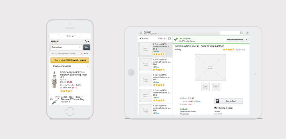 amazon part finder - Updating and designing the vehicle part finder experience for mobile and tablet.