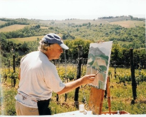 William en plein air - William painting in Monteriggioni, Italy