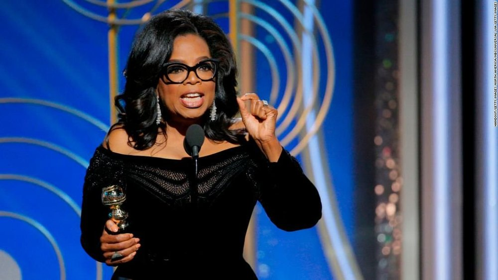 Oprah delivering her hit speech at the Golden Globes. Image Credit:  83Oranges