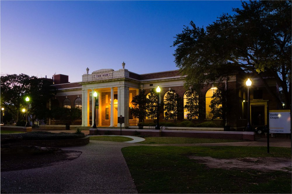 The Hub, on the USM campus, taken during blue hour.