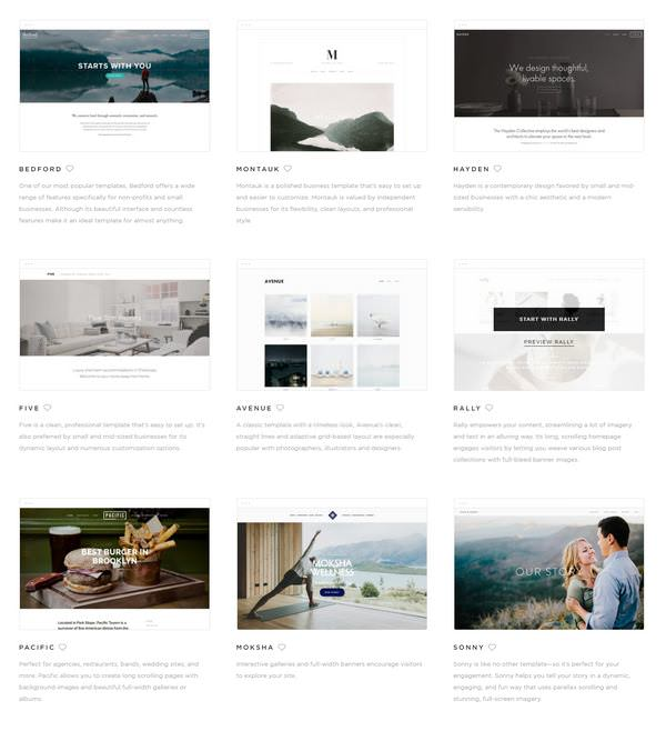 small image of squarespace templates