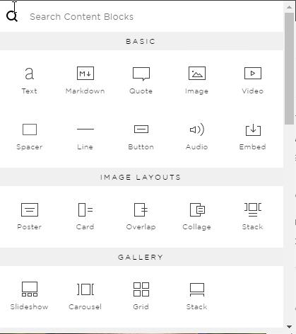 Squarespace insertion point indicators circled