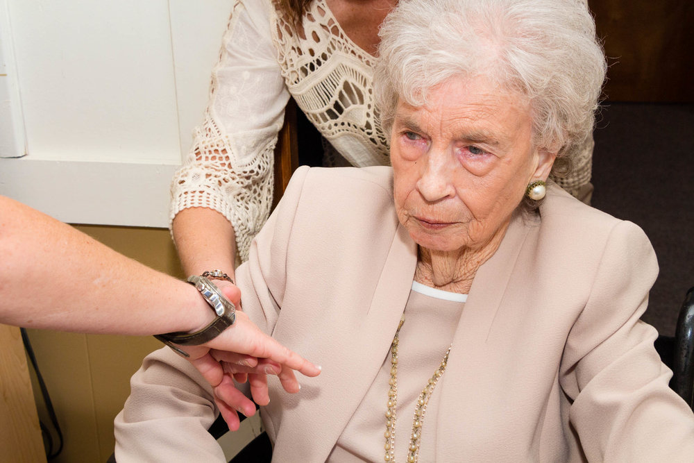 "Lindsey showing ""Memaw"" she was wearing ""Papaw's"" watch. (He had passed away the previous year)."