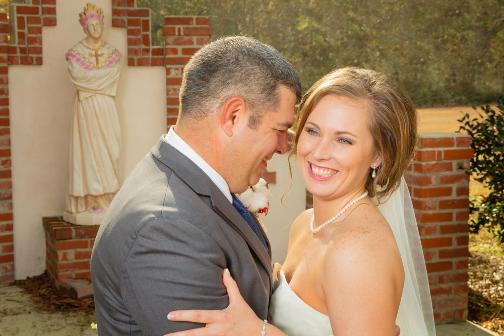 Bride and groom happy after ceremony