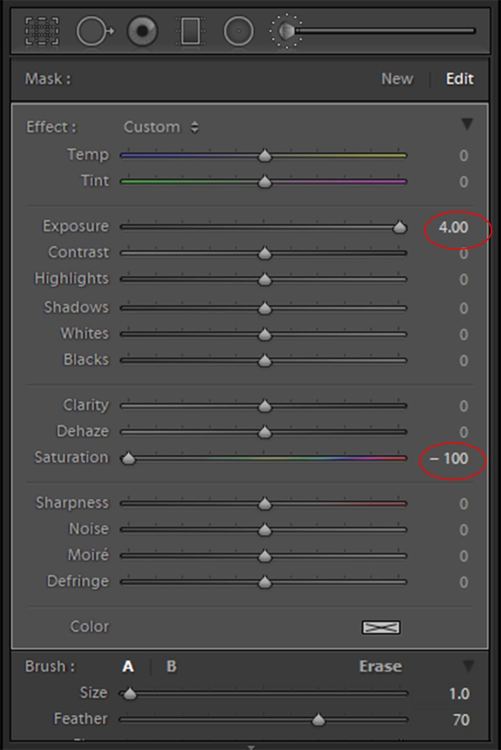 My recommended settings to create a catchlight brush in Lightroom.