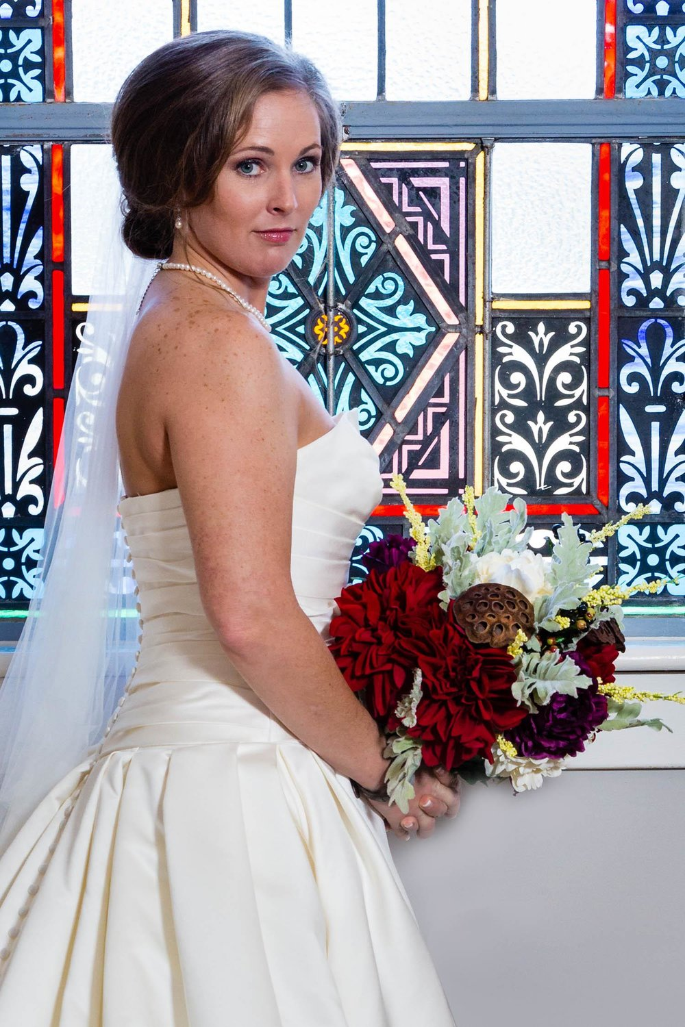 Bride with Stained Glass Window