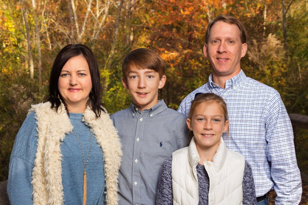 family-wooded-background