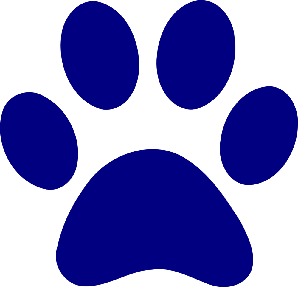 A dog's paw print colored blue
