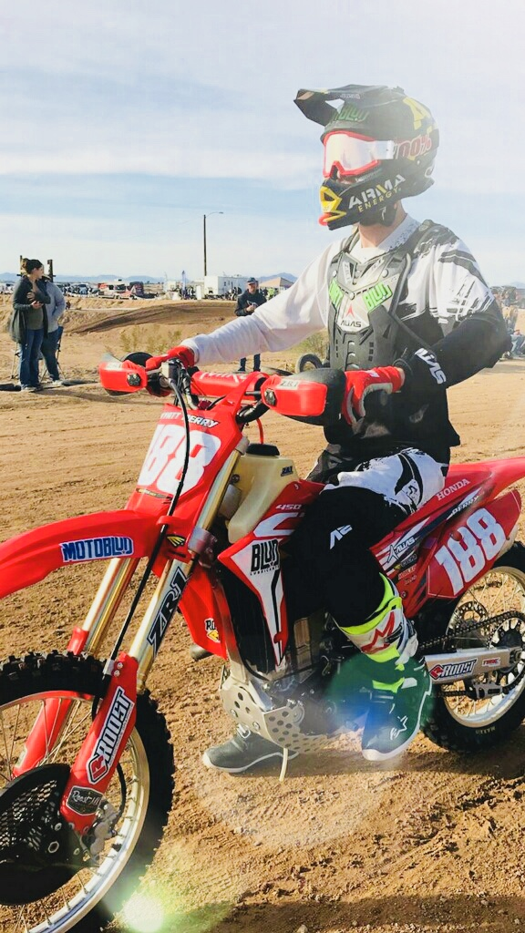 Wyatt Perry - Showing off his MotoBlud™, DirtBlud™ and Blud Lubricants® logos before the race.
