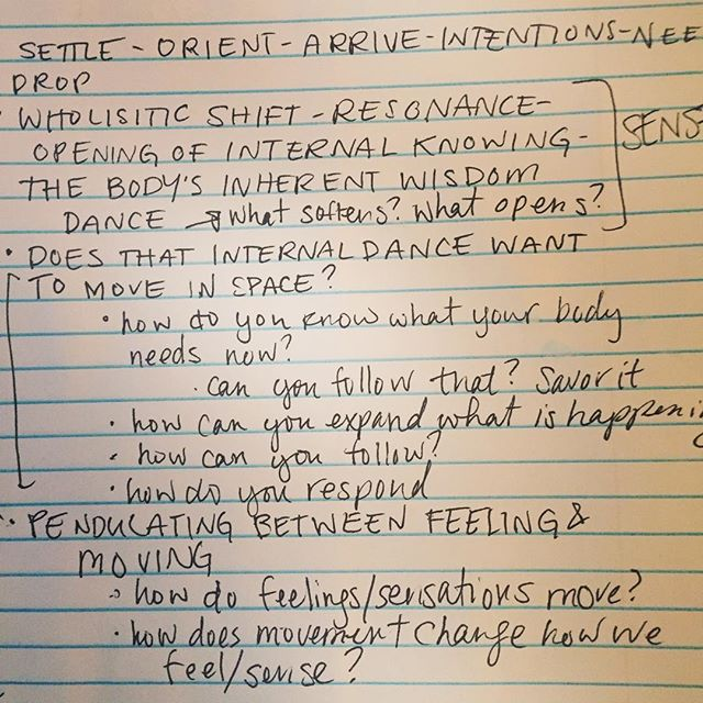 Brainstorming for class tonight... . How does movement align us with our intentions? How do deep feeling and deep moving interconnect and inform each other? How does movement allow us to drop into ourselves and then express that more deeply? . Learning, researching and growing. Come join me :) . TONIGHT - 6-7:30pm Boulder Circus Center
