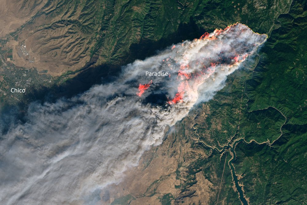 The Camp Fire as seen from space on Thursday, November 8th. The fire has since quadrupled in size, mostly spreading to the south and east.