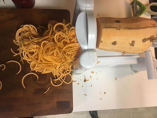 Step #1: Spiralize the sweet tater