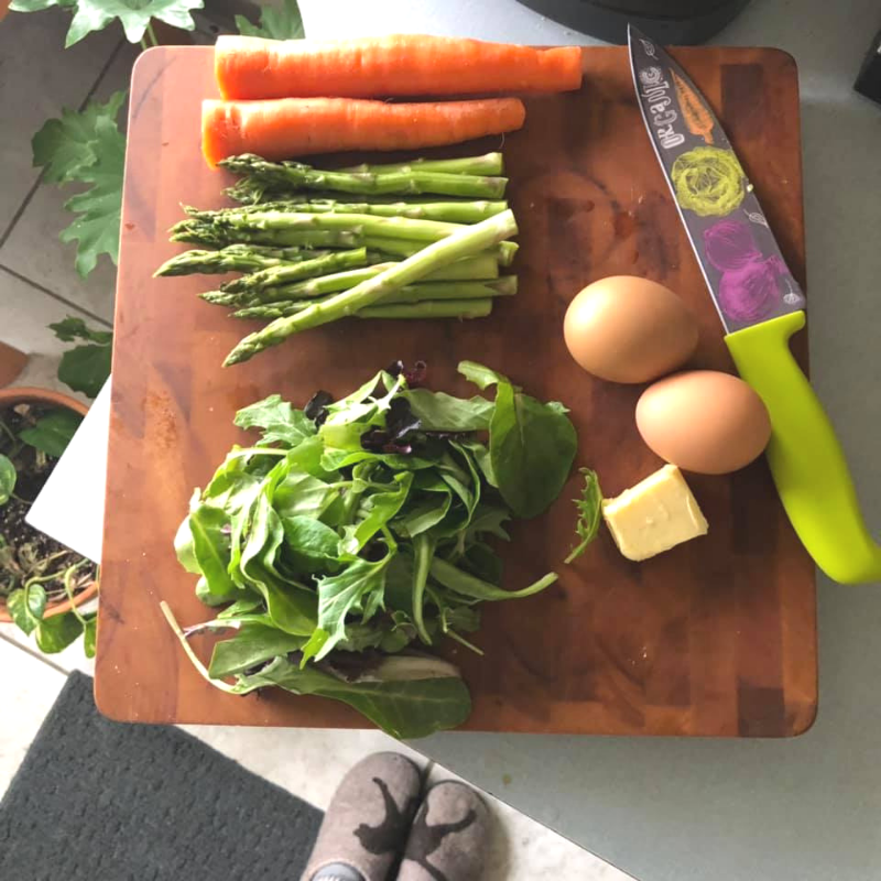 MY SET UP FOR MAKING OUR NOURISH BOWLS… don't you just love my slippers. plus, this knife was a gift for the hubster because he thought it fit our lifestyle!