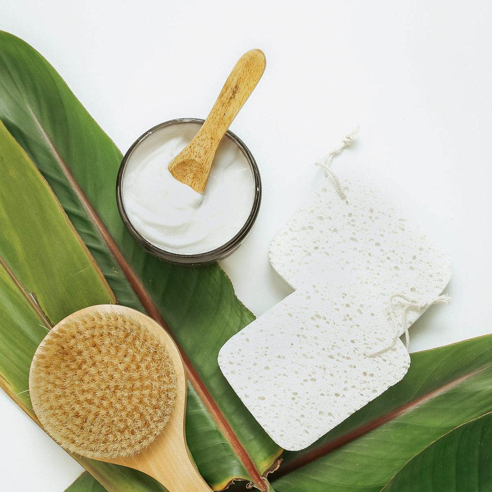 SS- self care, loofah, lotion, dry brush, plant.JPG